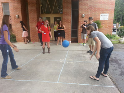 The Joint Youth Ministry playing an ice-breaker game